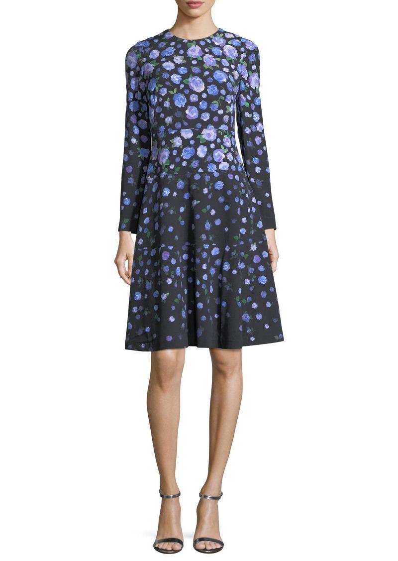 Lela Rose Long-Sleeve Degradé Floral Dress