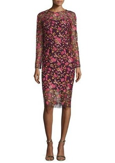 Lela Rose Long-Sleeve Embroidered Sheath Dress