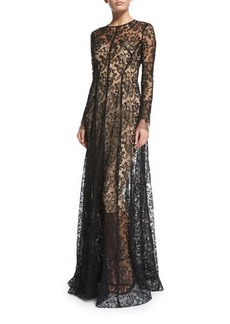 Lela Rose Long-Sleeve Floral-Lace Gown