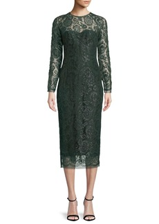 Lela Rose Long-Sleeve Jewel-Neck Lace Sheath Cocktail Dress