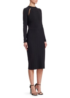Lela Rose Long-Sleeve Knit Bodycon Dress
