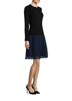 Lela Rose Long-Sleeve Lace & Wool Knit Dress