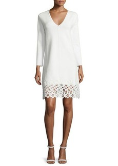 Lela Rose Long-Sleeve Lace-Hem Knit Dress
