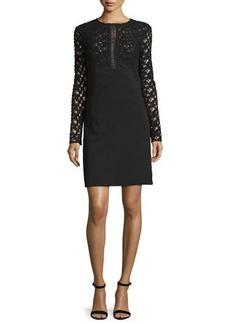 Lela Rose Long-Sleeve Lace-Inset Tunic Dress