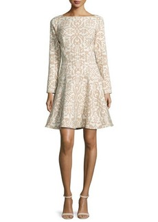Lela Rose Long-Sleeve Ornamental Fit-&-Flare Dress