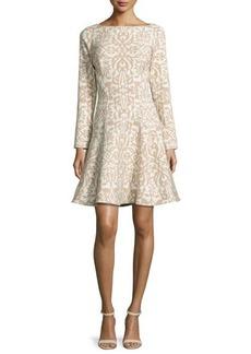 Lela Rose Long-Sleeve Ornamental Fit-&-Flare Dress