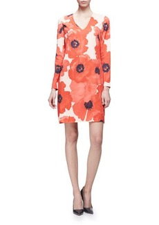 Lela Rose Long-Sleeve Oversize-Floral Shift Dress