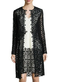 Lela Rose Long-Sleeve Scroll Guipure Lace Jacket
