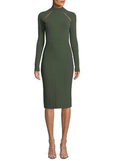 Lela Rose Long-Sleeve Sheath Dress with Cross-stitch Detailing