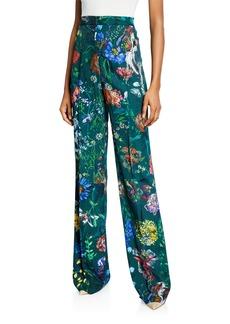 Lela Rose Maggie Wild Flower Stretch Crepe Pants
