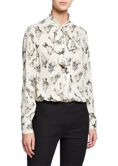 Lela Rose Man's Best Friend Print Bow-Neck Blouse