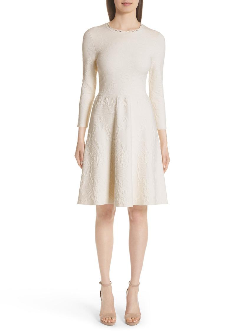 Lela Rose Matelassé Fit & Flare Dress