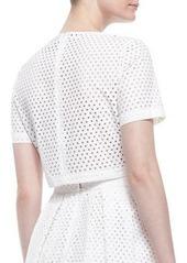 Lela Rose Mesh Short-Sleeve Crop Top