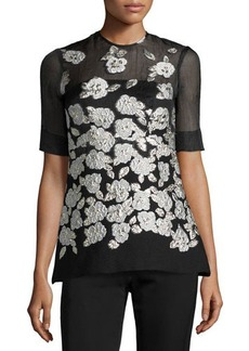 Lela Rose Metallic Floral-Embroidered Blouse