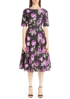 Lela Rose Metallic Floral Fil Coupé Fit & Flare Dress