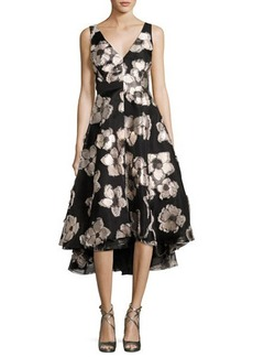 Lela Rose Metallic Floral Fil Coupé High-Low Dress