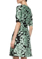 Lela Rose Metallic Floral Jacquard Dress