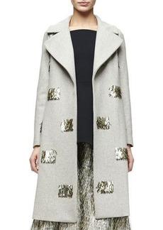 Lela Rose Metallic Fringe-Embellished Long Coat