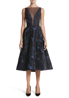 Lela Rose Metallic Jacquard Fit & Flare Dress