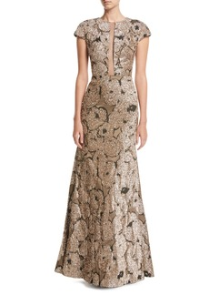 Lela Rose Metallic Tinsel Jacquard Tulle-Inset Column Gown with Detachable Brooch