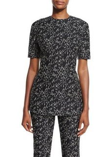 Lela Rose Minnow Jacquard Peplum Top
