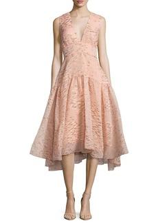 Minnow-Jacquard V-Neck Dress