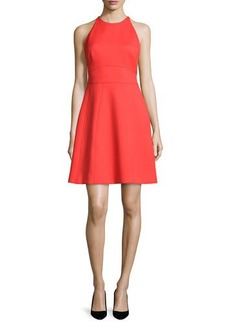 Lela Rose Modified-Halter Fit-&-Flare Dress
