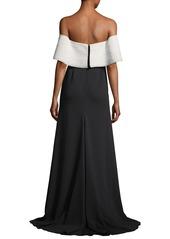 Lela Rose Off-the-Shoulder A-Line Crepe Evening Gown