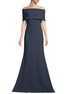 Lela Rose Off-the-Shoulder A-Line Evening Gown