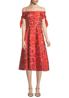 Lela Rose Off-the-Shoulder Bow-Sleeve Fit-and-Flare Dress
