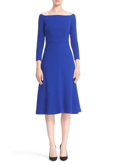 Lela Rose Off the Shoulder Crepe Fit & Flare Dress