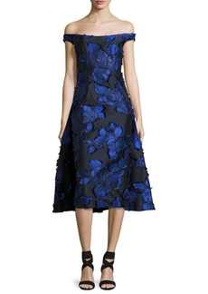 Lela Rose Off-the-Shoulder Floral Brocade Dress with Flounce Back