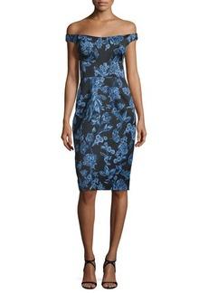 Lela Rose Off-The-Shoulder Floral-Print Sheath Dress