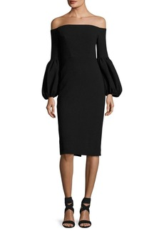 Lela Rose Off-the-Shoulder Full-Sleeve Sheath Dress