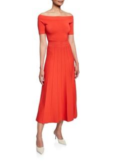Lela Rose Off-The-Shoulder Jersey Midi Dress