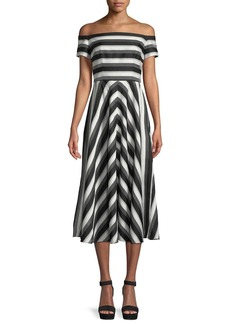Lela Rose Off-the-Shoulder Striped Fit-and-Flare Dress
