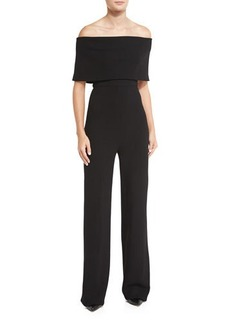 Lela Rose Off-the-Shoulder Wide-Leg Jumpsuit