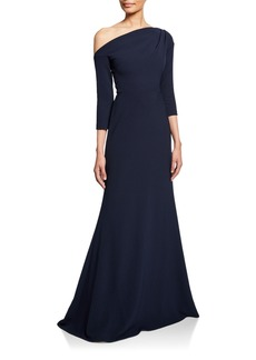 Lela Rose One-Shoulder 3/4-Sleeve Crepe Trumpet Gown