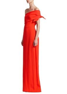 Lela Rose One-Shoulder Column Gown