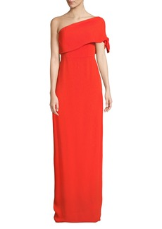 Lela Rose One-Shoulder Crepe Column Gown