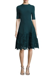 Lela Rose Ottoman Knit Dress with Lace Hem