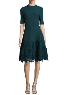 Lela Rose Ottoman Knit Dress with Lace Hem