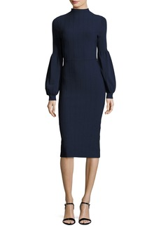 Lela Rose Ottoman-Knit Full-Sleeve Sheath Dress