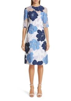 Lela Rose Oversize Floral Fil Coupé A-Line Dress