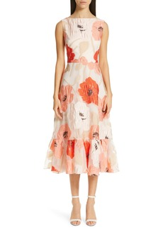 Lela Rose Oversize Floral Fil Coupé Midi Dress