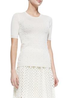 Lela Rose Pearl-Beaded Short-Sleeve Sweater