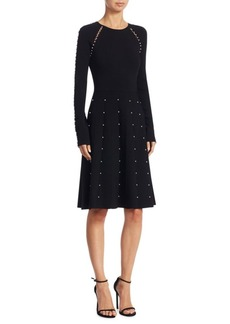 Lela Rose Pearl Trim Knit Dress