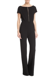 Lela Rose Pearly Beaded Blouson Jumpsuit