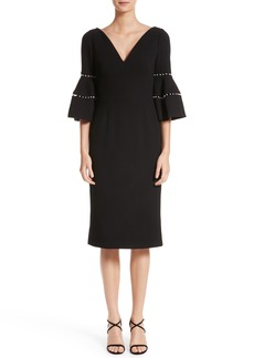 Lela Rose Pearly Trim Bell Sleeve Dress