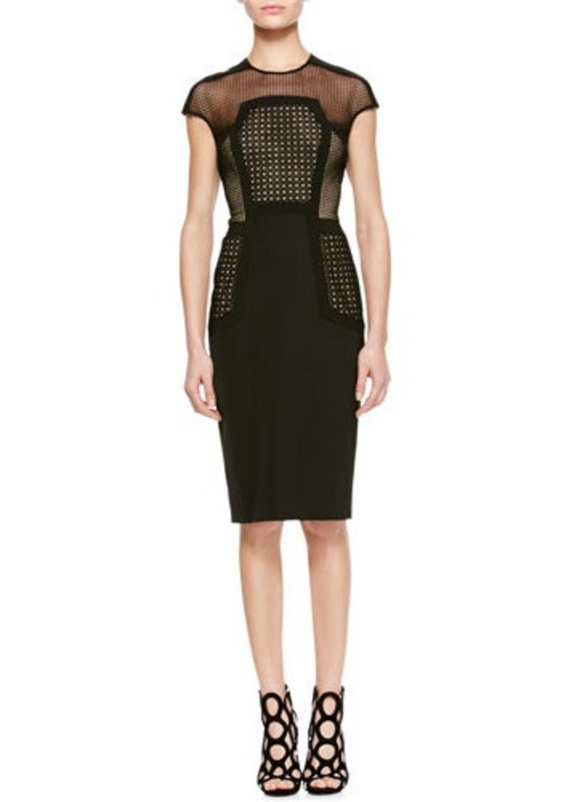 Lela Rose Placed-Lace Sheath Dress